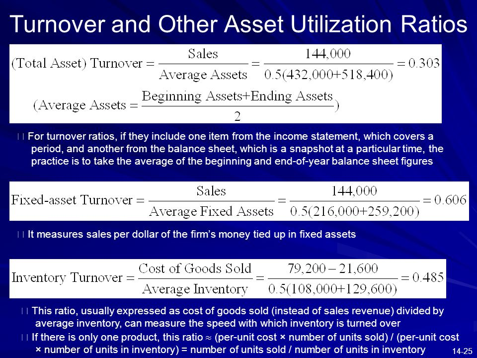 14-25 Turnover and Other Asset Utilization Ratios ※ It measures sales per dollar of the firm's money tied up in fixed assets ※ For turnover ratios, if