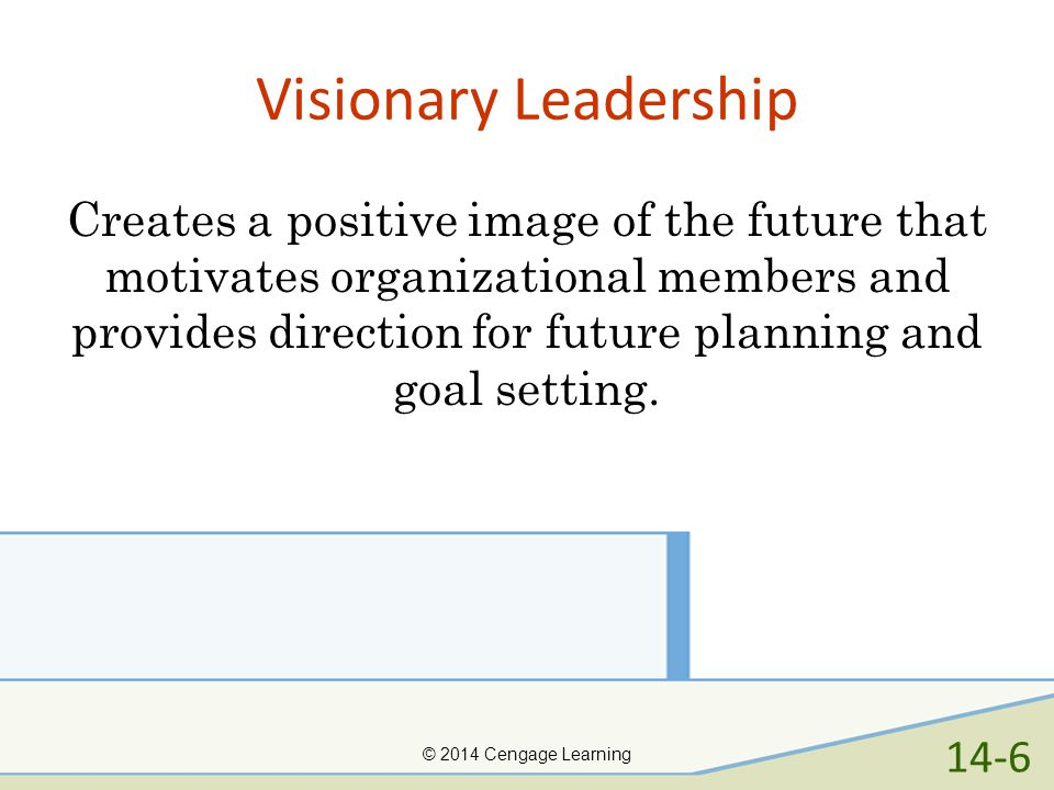 Visionary Leadership Creates a positive image of the future that motivates organizational members and provides direction for future planning and goal