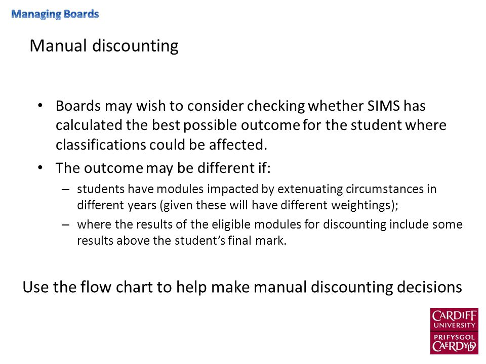 The below grid can help the board to decide whether the best outcome for the student has been given 40:60 weightingYear contributes 40%Year contributes 60% Module creditsFor each 10 marksFinal mark changes by: 1010 marks0.3330.500 2010 marks0.6671.000 3010 marks1.0001.500 4010 marks1.3332.000 30:70 weightingYear contributes 30%Year contributes 70% Module creditsFor each 10 marksFinal mark changes by: 1010 marks0.2500.583 2010 marks0.5001.167 3010 marks0.7501.750 4010 marks1.0002.333