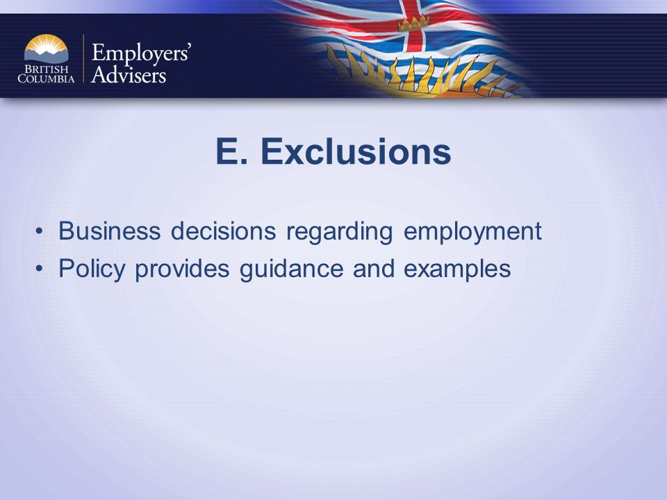 E. Exclusions Business decisions regarding employment Policy provides guidance and examples
