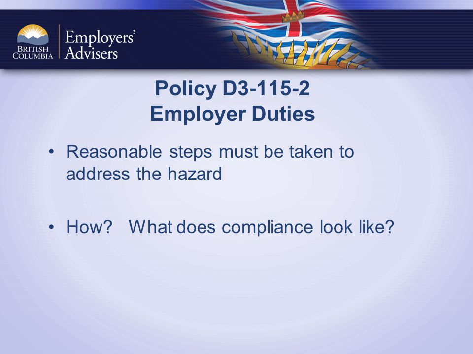 Policy D3-115-2 Employer Duties Reasonable steps must be taken to address the hazard How.