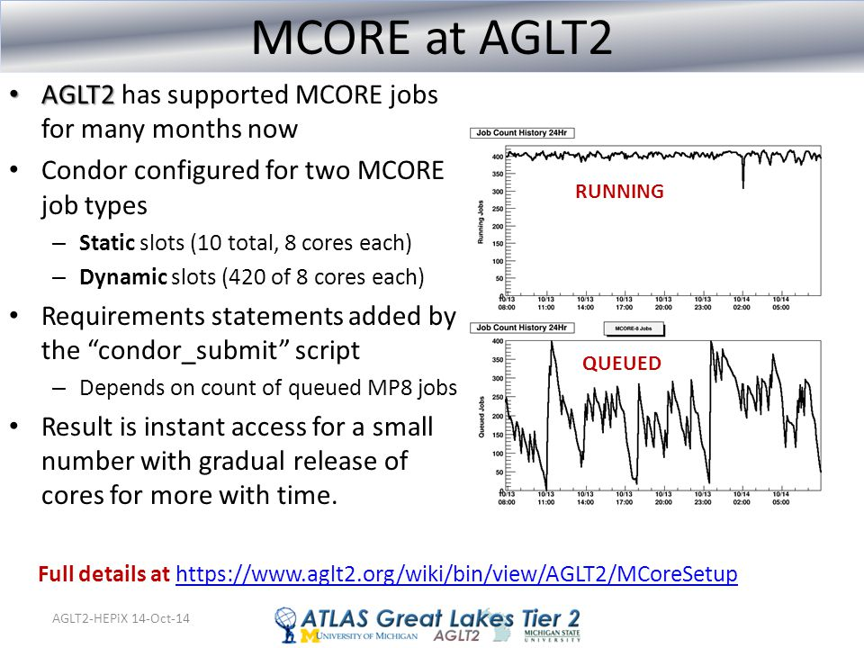 AGLT2-HEPiX 14-Oct-14 MCORE at AGLT2 AGLT2 AGLT2 has supported MCORE jobs for many months now Condor configured for two MCORE job types – Static slots