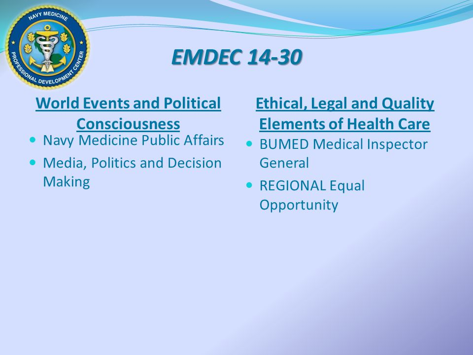 EMDEC 14-30 World Events and Political Consciousness Ethical, Legal and Quality Elements of Health Care Navy Medicine Public Affairs Media, Politics a