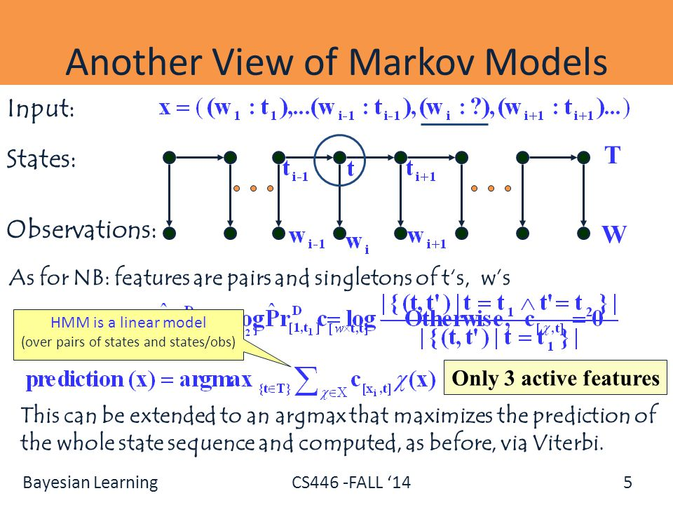 Bayesian Learning CS446 -FALL '14 5 Another View of Markov Models As for NB: features are pairs and singletons of t's, w's Only 3 active features Inpu