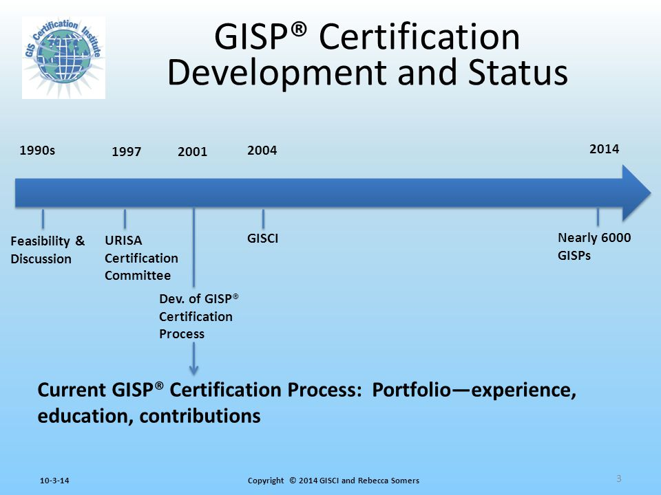 Copyright © 2014 GISCI and Rebecca Somers10-3-14 GISP® Certification Development and Status Feasibility & Discussion Dev.
