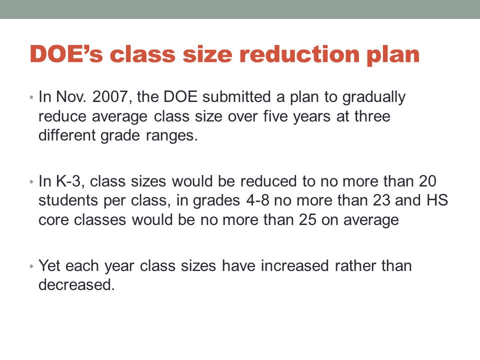 DOE's class size reduction plan In Nov.