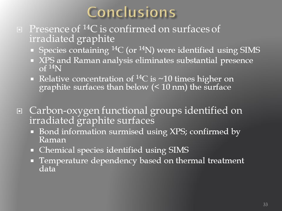 Presence of 14 C is confirmed on surfaces of irradiated graphite  Species containing 14 C (or 14 N) were identified using SIMS  XPS and Raman analysis eliminates substantial presence of 14 N  Relative concentration of 14 C is ~10 times higher on graphite surfaces than below (< 10 nm) the surface  Carbon-oxygen functional groups identified on irradiated graphite surfaces  Bond information surmised using XPS; confirmed by Raman  Chemical species identified using SIMS  Temperature dependency based on thermal treatment data 33