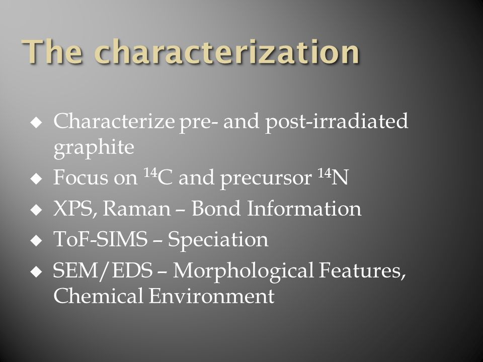  Characterize pre- and post-irradiated graphite  Focus on 14 C and precursor 14 N  XPS, Raman – Bond Information  ToF-SIMS – Speciation  SEM/EDS – Morphological Features, Chemical Environment The characterization