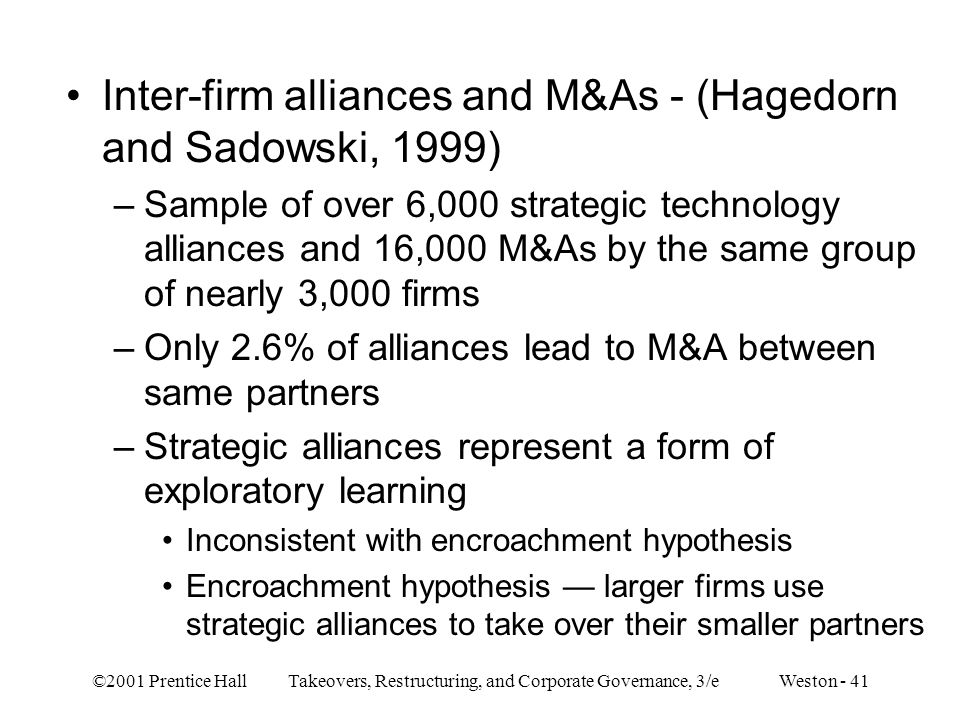 ©2001 Prentice Hall Takeovers, Restructuring, and Corporate Governance, 3/e Weston - 41 Inter-firm alliances and M&As - (Hagedorn and Sadowski, 1999)