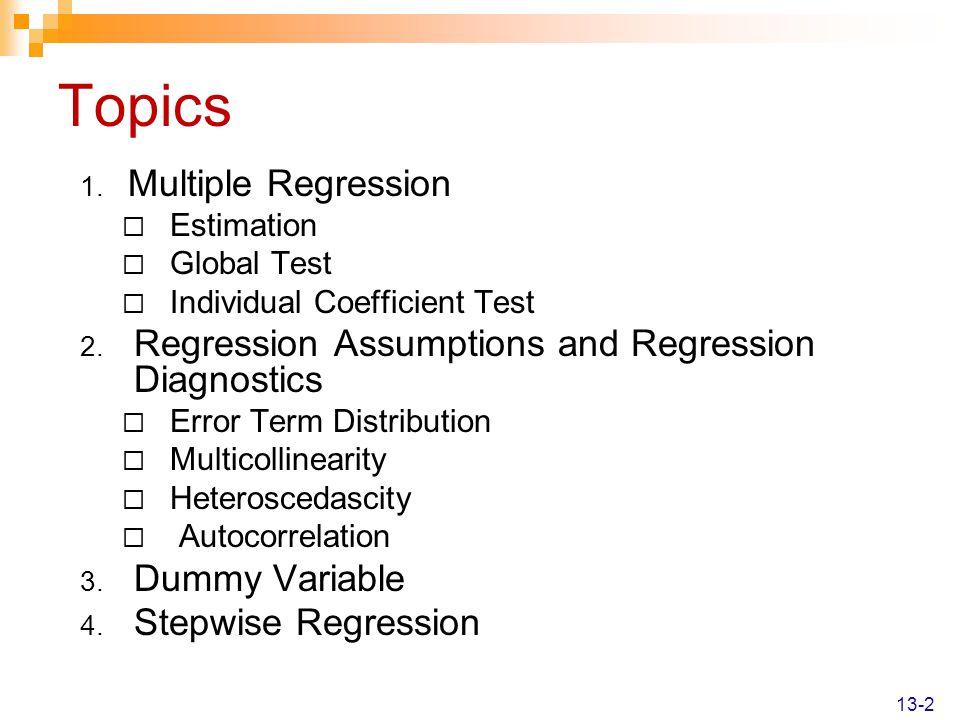 Dummy Variable - Example 14-33 SUMMARY OUTPUT Regression Statistics Multiple R0.932651 R Square0.869838 Adjusted R Square0.845433 Standard Error41.61842 Observations20 ANOVA dfSSMSFSignificance F Regression3185202.361734.0935.641332.59E-07 Residual1627713.481732.093 Total19212915.8 CoefficientsStandard Errort StatP-valueLower 95%Upper 95% Intercept393.665745.001288.7478761.71E-07298.2672489.0641 Temp-3.962850.652657-6.071861.62E-05-5.34642-2.57928 Insul-11.3344.001531-2.83240.01201-19.8168-2.85109 Garage77.432122.782823.3987060.0036729.13468125.7295 New estimated regression equation: