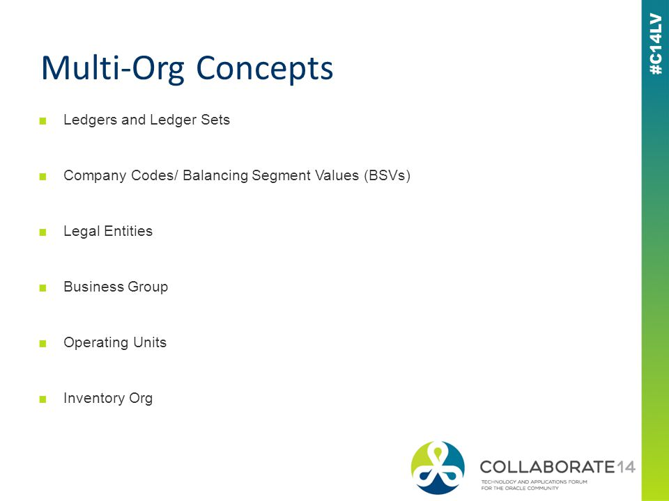 ■Ledgers and Ledger Sets ■Company Codes/ Balancing Segment Values (BSVs) ■Legal Entities ■Business Group ■Operating Units ■Inventory Org Multi-Org Concepts