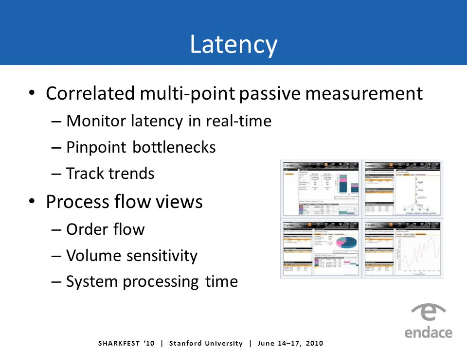 SHARKFEST '10 | Stanford University | June 14–17, 2010 Correlated multi-point passive measurement – Monitor latency in real-time – Pinpoint bottleneck