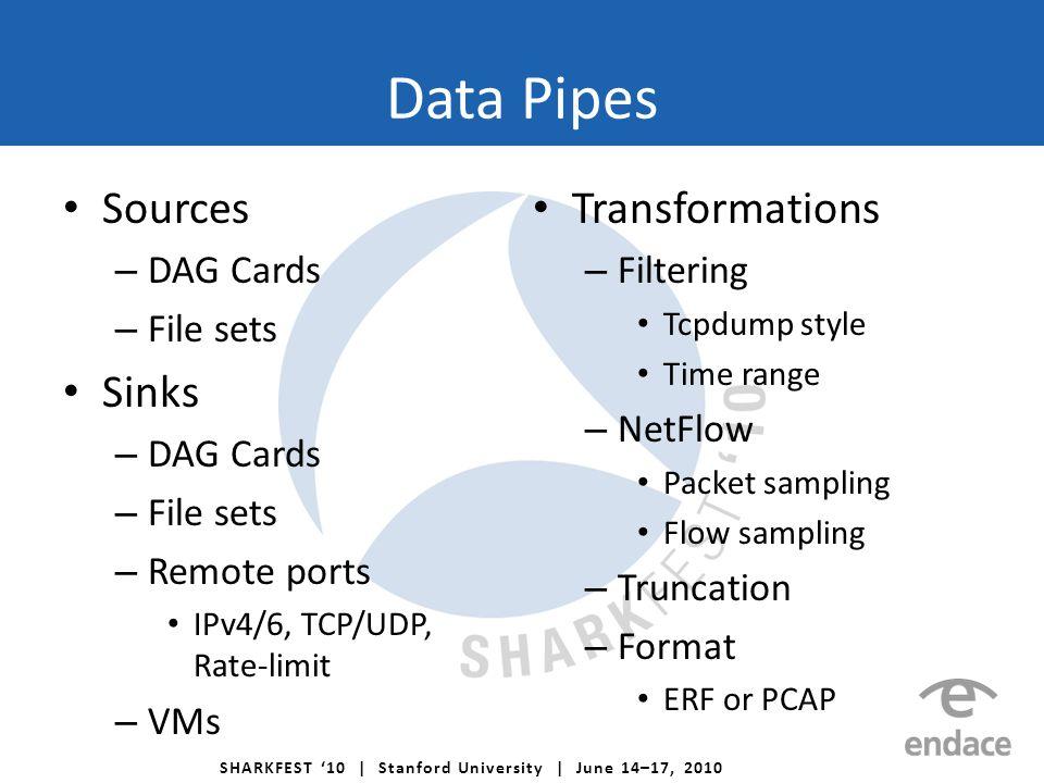 SHARKFEST '10 | Stanford University | June 14–17, 2010 Data Pipes Sources – DAG Cards – File sets Sinks – DAG Cards – File sets – Remote ports IPv4/6, TCP/UDP, Rate-limit – VMs Transformations – Filtering Tcpdump style Time range – NetFlow Packet sampling Flow sampling – Truncation – Format ERF or PCAP