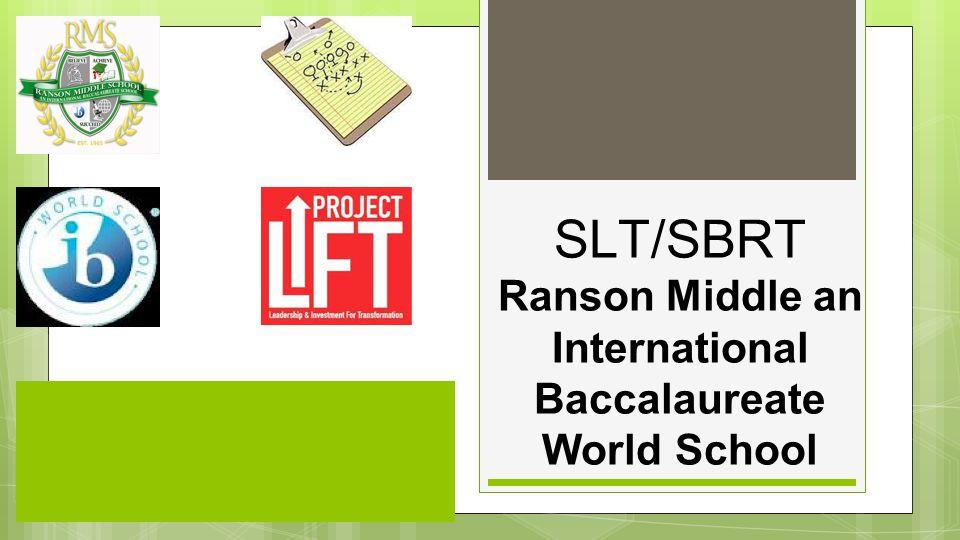 SLT/SBRT Ranson Middle an International Baccalaureate World School