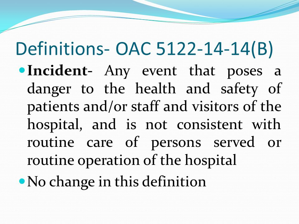 Six Month Reportable Incidents Injury Requiring Emergency/Unplanned Medical Intervention or Hospitalization - Injury to patient requiring emergency/unplanned medical intervention or transfer to hospital medical unit which happens on grounds of hospital or during provision of care or treatment, including during hospital off-grounds events