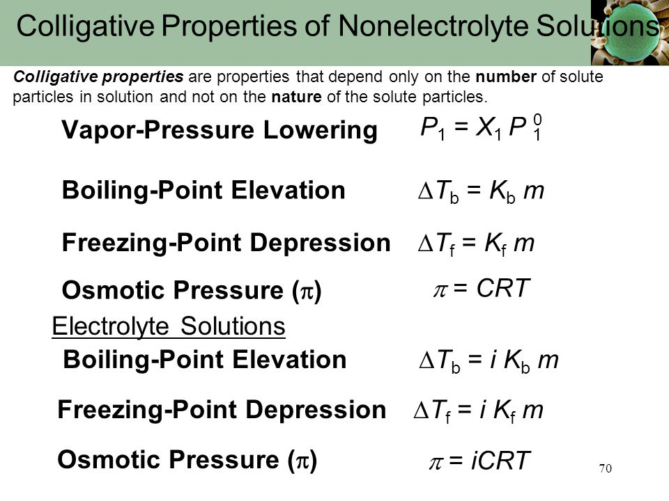 70 Colligative Properties of Nonelectrolyte Solutions Colligative properties are properties that depend only on the number of solute particles in solu