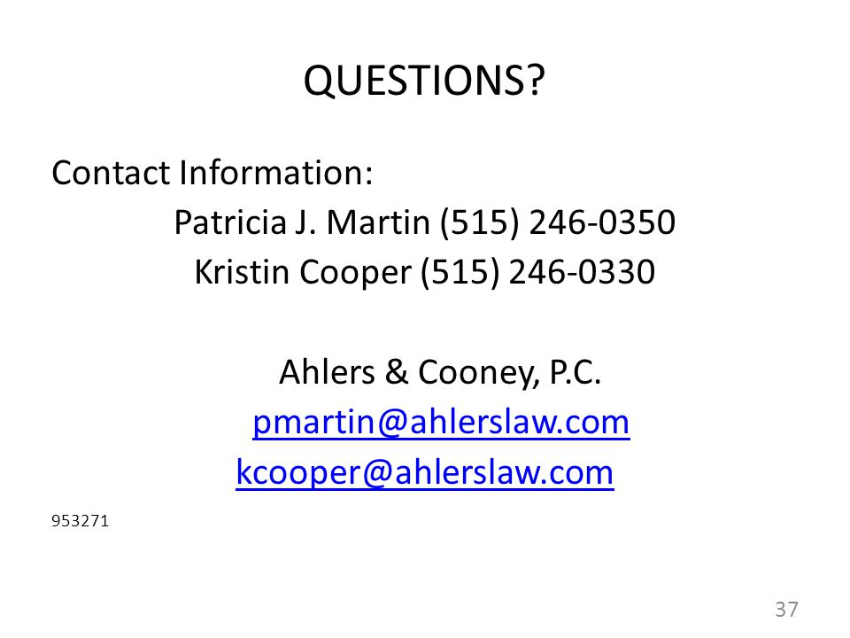 QUESTIONS. Contact Information: Patricia J.