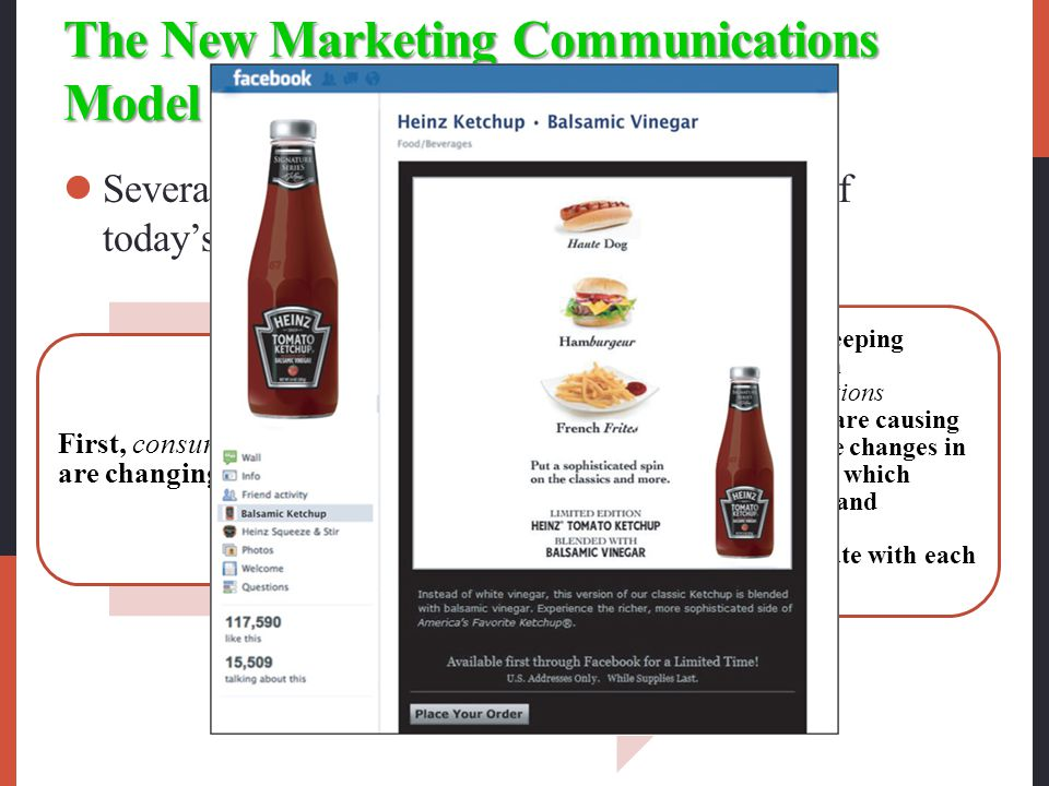 The New Marketing Communications Model Several major factors are changing the face of today's marketing communications First, consumers are changing.