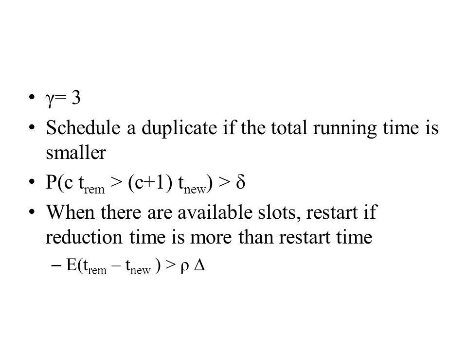 γ= 3 Schedule a duplicate if the total running time is smaller P(c t rem > (c+1) t new ) > δ When there are available slots, restart if reduction time is more than restart time – E(t rem – t new ) > ρ ∆