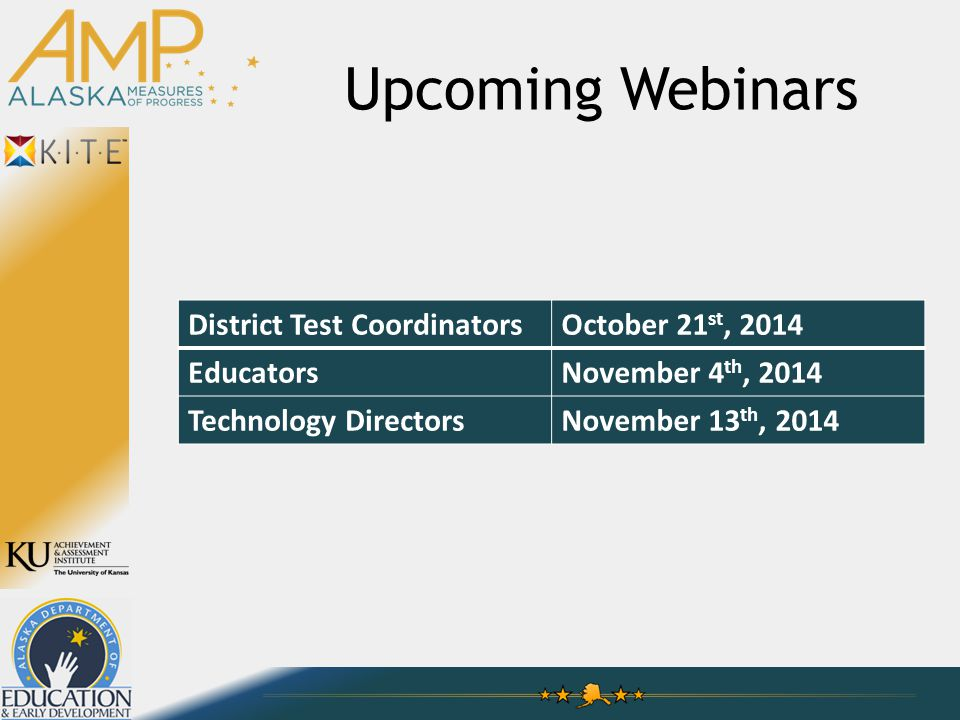 Upcoming Webinars District Test CoordinatorsOctober 21 st, 2014 EducatorsNovember 4 th, 2014 Technology DirectorsNovember 13 th, 2014