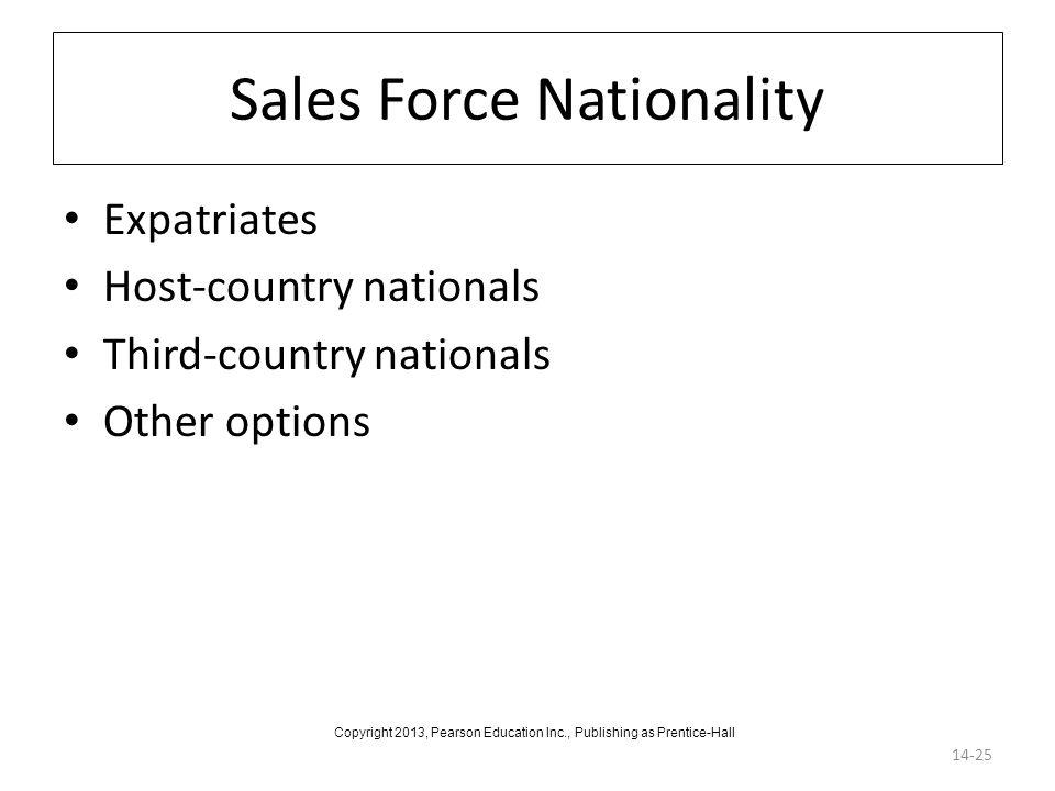 Sales Force Nationality Expatriates Host-country nationals Third-country nationals Other options 14-25 Copyright 2013, Pearson Education Inc., Publish