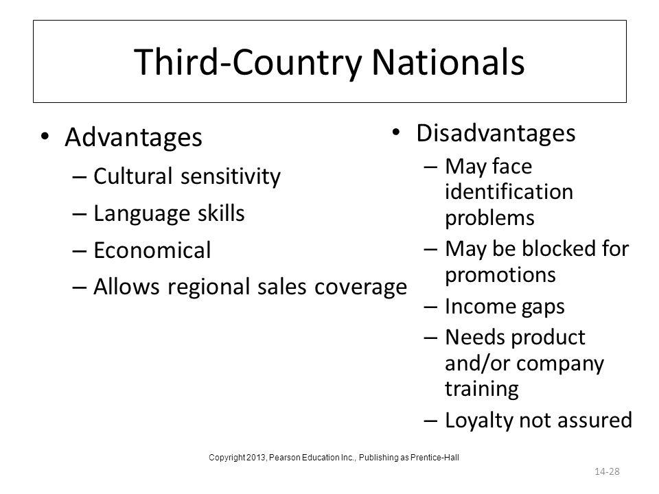 Third-Country Nationals Advantages – Cultural sensitivity – Language skills – Economical – Allows regional sales coverage 14-28 Disadvantages – May fa