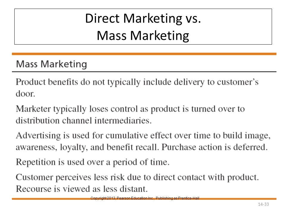 Direct Marketing vs. Mass Marketing 14-33 Copyright 2013, Pearson Education Inc., Publishing as Prentice-Hall