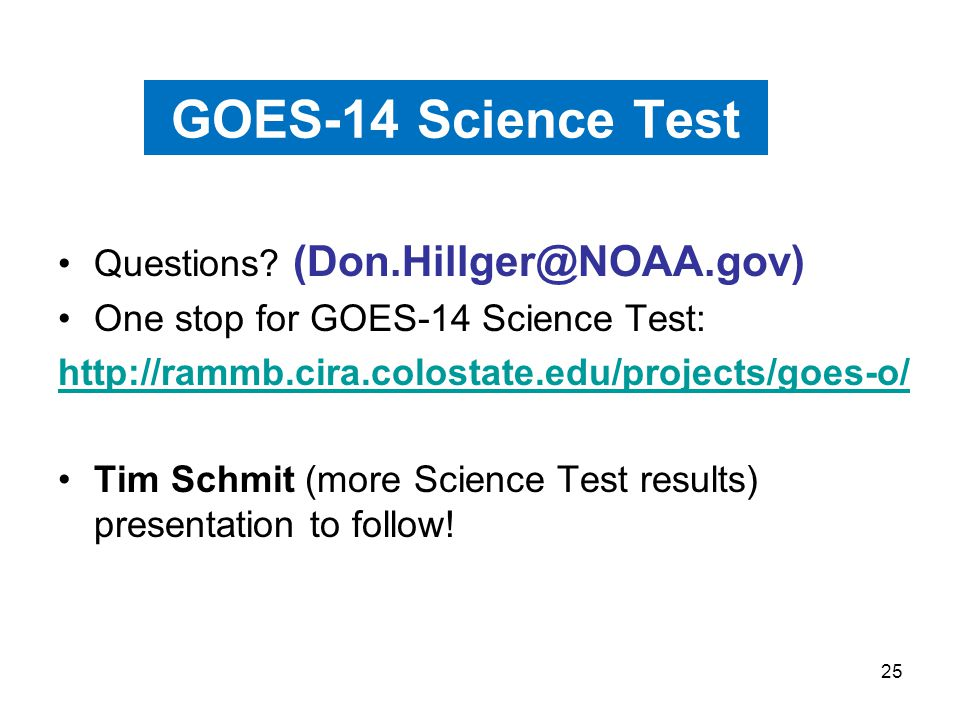 25 GOES-14 Science Test Questions.