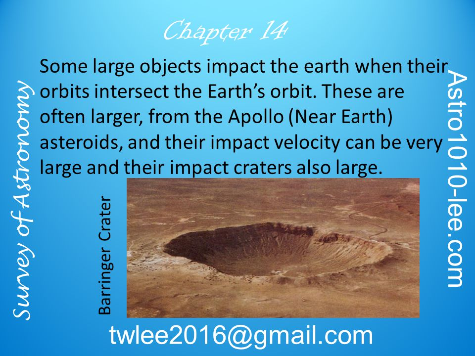 Survey of Astronomy Astro1010-lee.com twlee2016@gmail.com Chapter 14 Barringer Crater Some large objects impact the earth when their orbits intersect