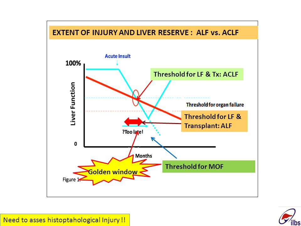 Threshold for LF & Tx: ACLF Threshold for MOF Golden window Threshold for LF & Transplant: ALF EXTENT OF INJURY AND LIVER RESERVE : ALF vs. ACLF Need