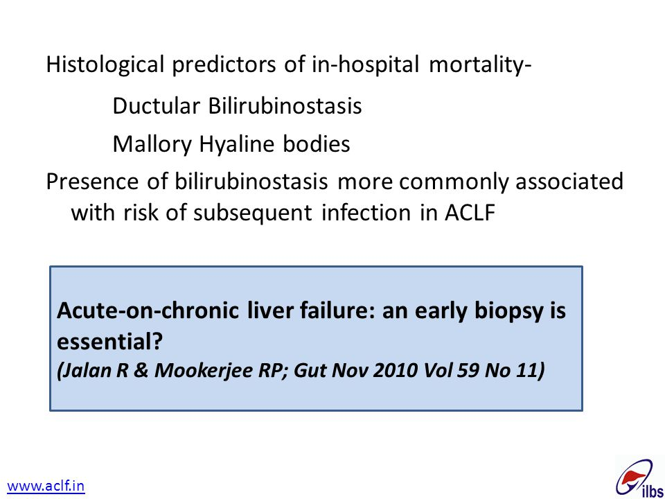 Histological predictors of in-hospital mortality- Ductular Bilirubinostasis Mallory Hyaline bodies Presence of bilirubinostasis more commonly associat