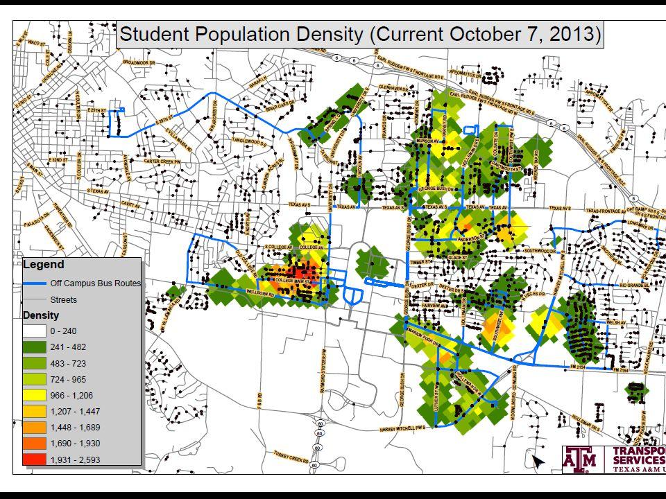 transport.tamu.edu Student Population Density Map (10/2013)