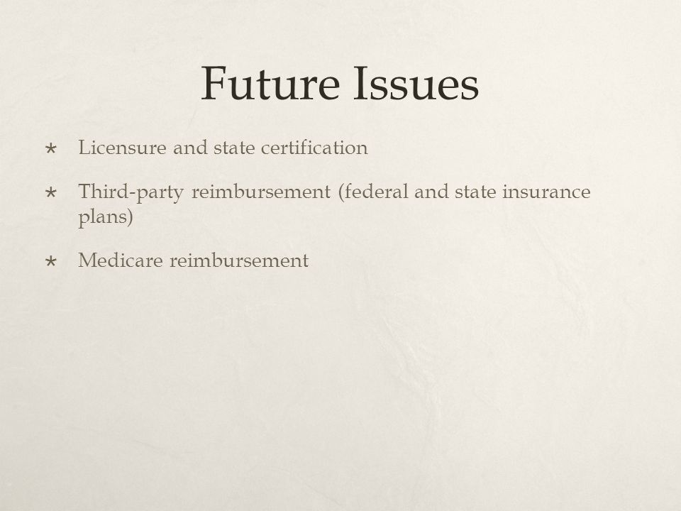 Future Issues  Licensure and state certification  Third-party reimbursement (federal and state insurance plans)  Medicare reimbursement