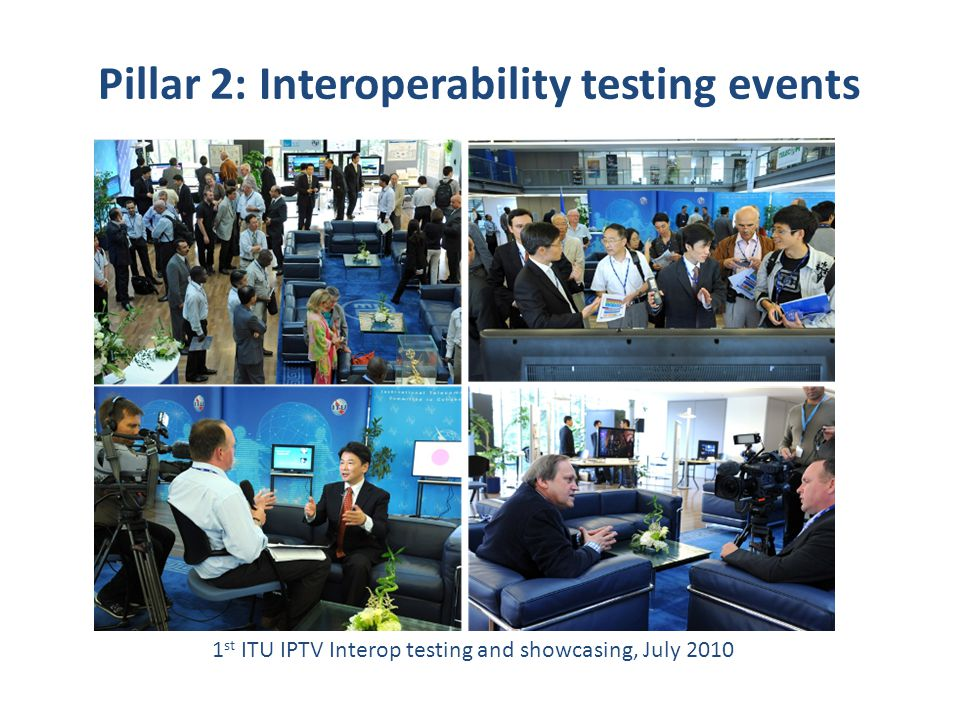 17 1 st ITU IPTV Interop testing and showcasing, July 2010 Pillar 2: Interoperability testing events
