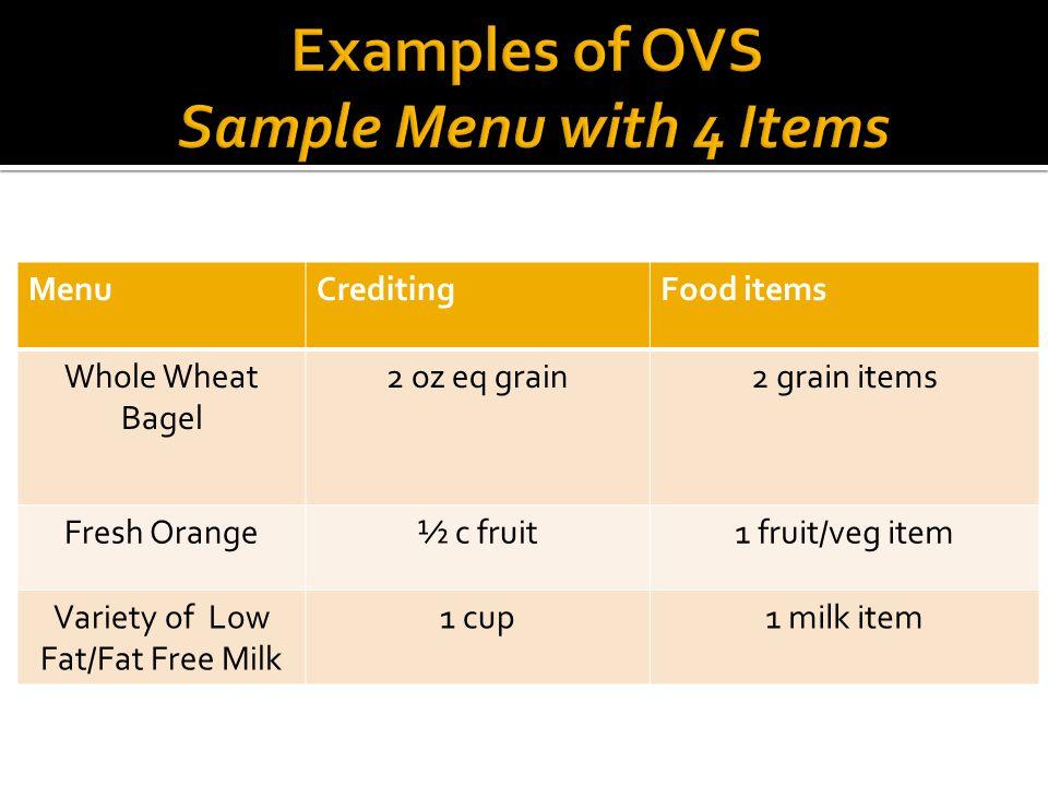 MenuCreditingFood items Whole Wheat Bagel 2 oz eq grain2 grain items Fresh Orange½ c fruit1 fruit/veg item Variety of Low Fat/Fat Free Milk 1 cup1 milk item
