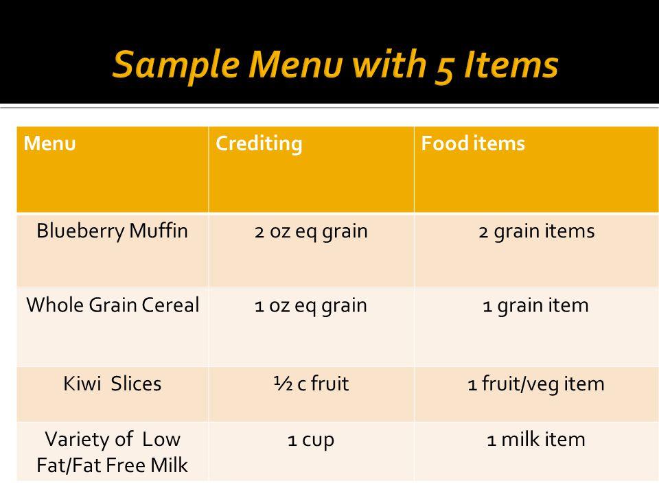 MenuCreditingFood items Blueberry Muffin2 oz eq grain2 grain items Whole Grain Cereal1 oz eq grain1 grain item Kiwi Slices½ c fruit1 fruit/veg item Variety of Low Fat/Fat Free Milk 1 cup1 milk item