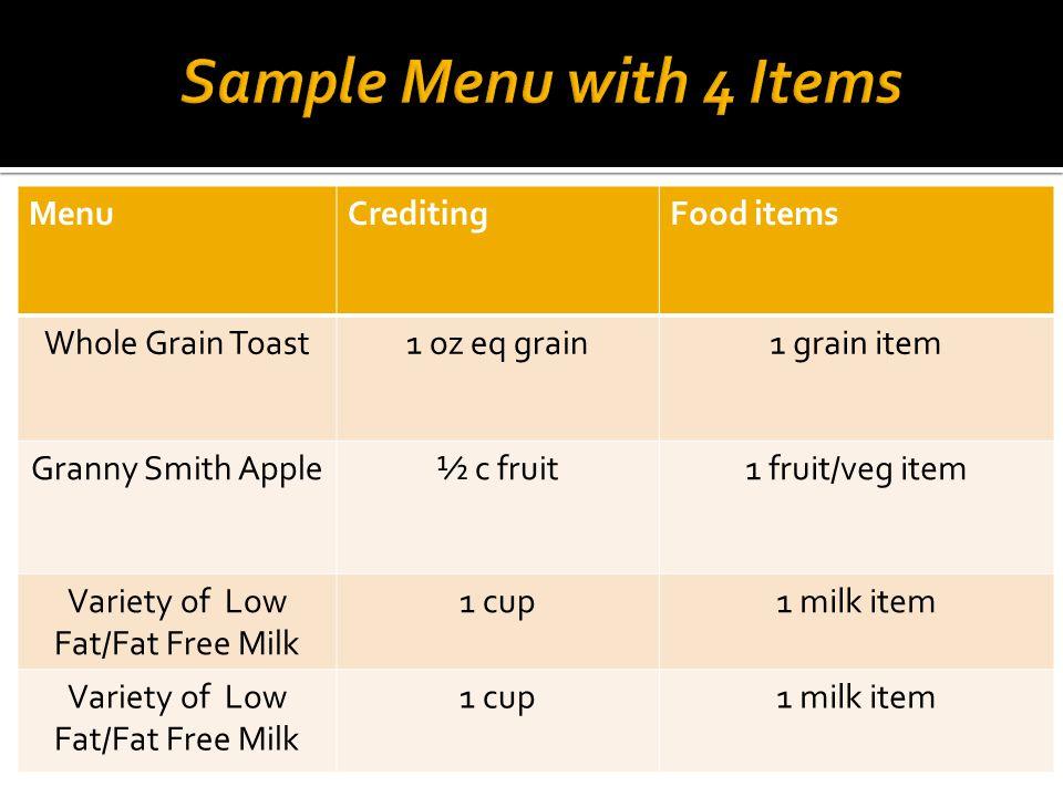 MenuCreditingFood items Whole Grain Toast1 oz eq grain1 grain item Granny Smith Apple½ c fruit1 fruit/veg item Variety of Low Fat/Fat Free Milk 1 cup1 milk item Variety of Low Fat/Fat Free Milk 1 cup1 milk item