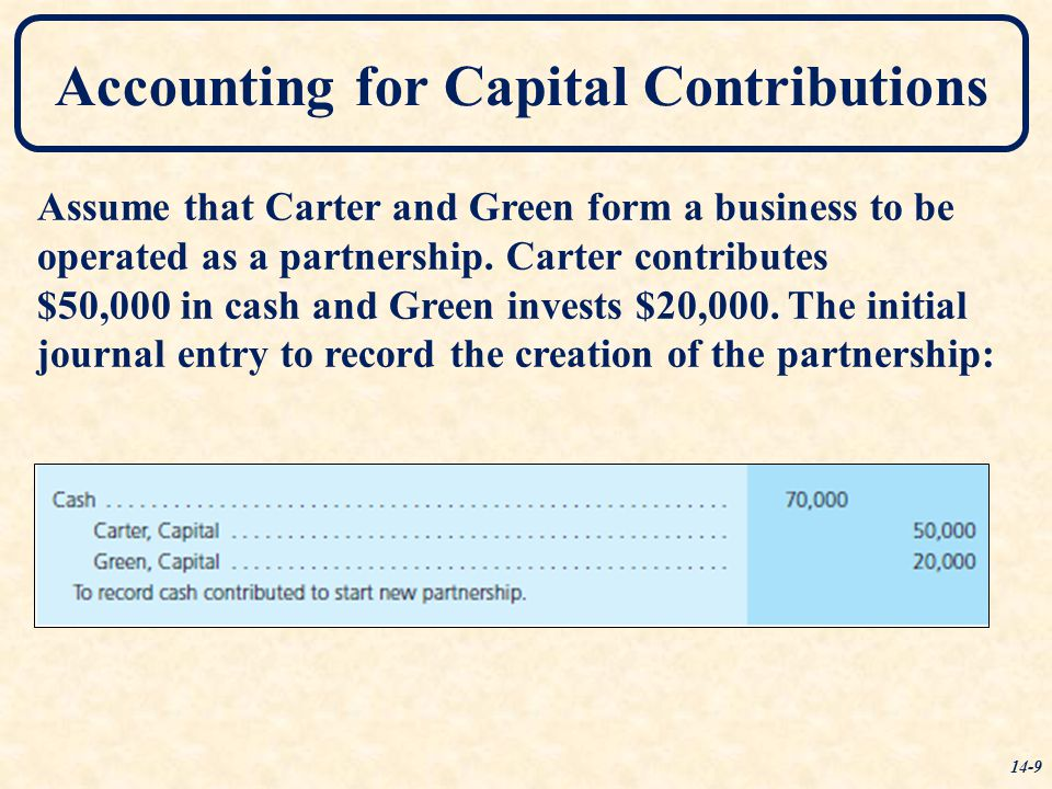 Accounting for Capital Contributions Assume that Carter and Green form a business to be operated as a partnership. Carter contributes $50,000 in cash