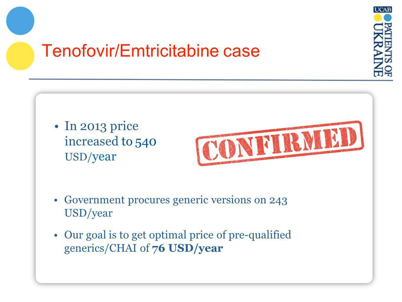 Tenofovir/Emtricitabine case In 2013 price increased to 540 USD/ year Government procures generic versions on 243 USD/year Our goal is to get optimal price of pre-qualified generics/CHAI of 76 USD/year