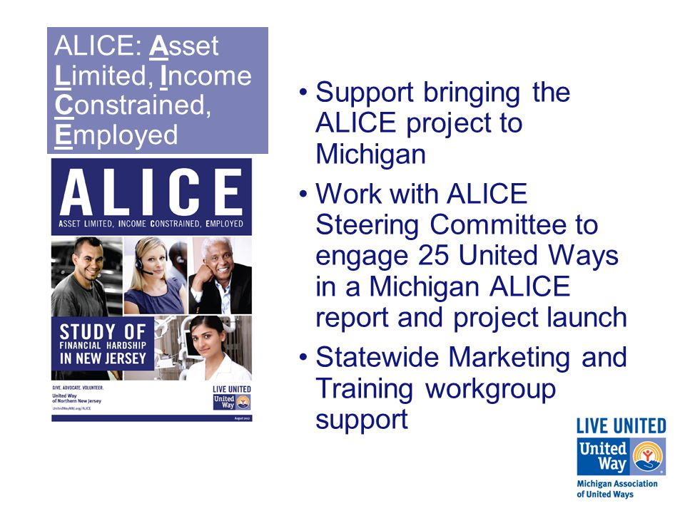 ALICE: Asset Limited, Income Constrained, Employed Support bringing the ALICE project to Michigan Work with ALICE Steering Committee to engage 25 United Ways in a Michigan ALICE report and project launch Statewide Marketing and Training workgroup support