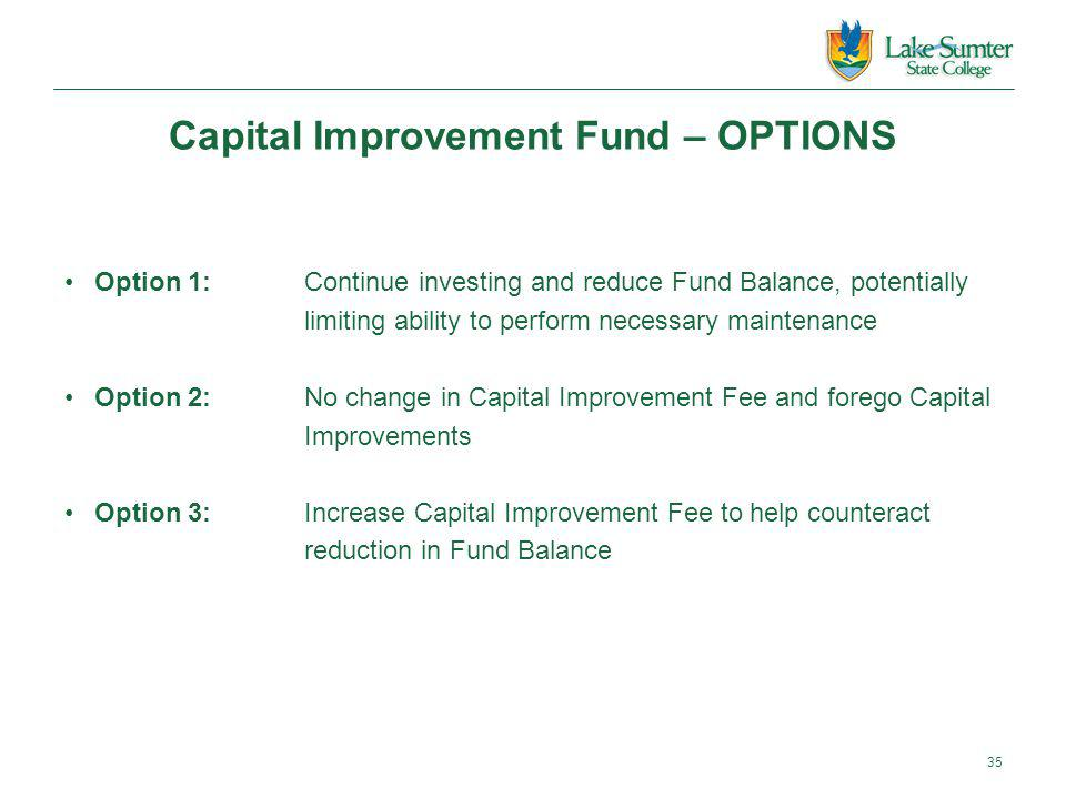 Capital Improvement Fund – OPTIONS 35 Option 1:Continue investing and reduce Fund Balance, potentially limiting ability to perform necessary maintenance Option 2:No change in Capital Improvement Fee and forego Capital Improvements Option 3:Increase Capital Improvement Fee to help counteract reduction in Fund Balance