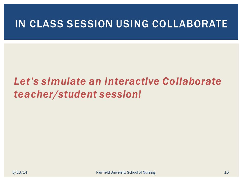 Let's simulate an interactive Collaborate teacher/student session! IN CLASS SESSION USING COLLABORATE 5/23/14Fairfield University School of Nursing 10