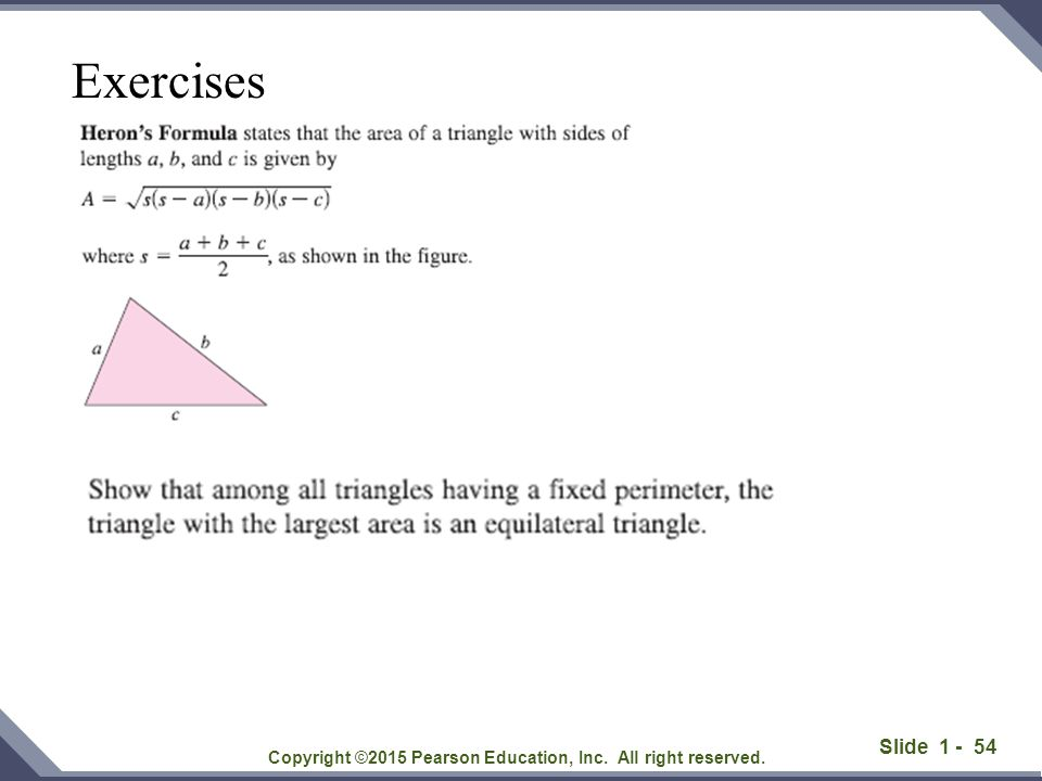 Slide 1 - 54 Copyright ©2015 Pearson Education, Inc. All right reserved. Exercises