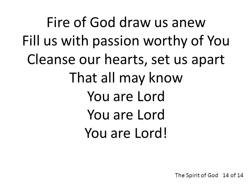 Fire of God draw us anew Fill us with passion worthy of You Cleanse our hearts, set us apart That all may know You are Lord You are Lord You are Lord.