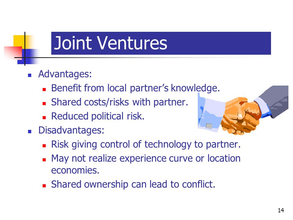 McGraw-Hill/Irwin © 2003 The McGraw-Hill Companies, Inc., All Rights Reserved. 14-14 14 Joint Ventures Advantages: Benefit from local partner's knowle