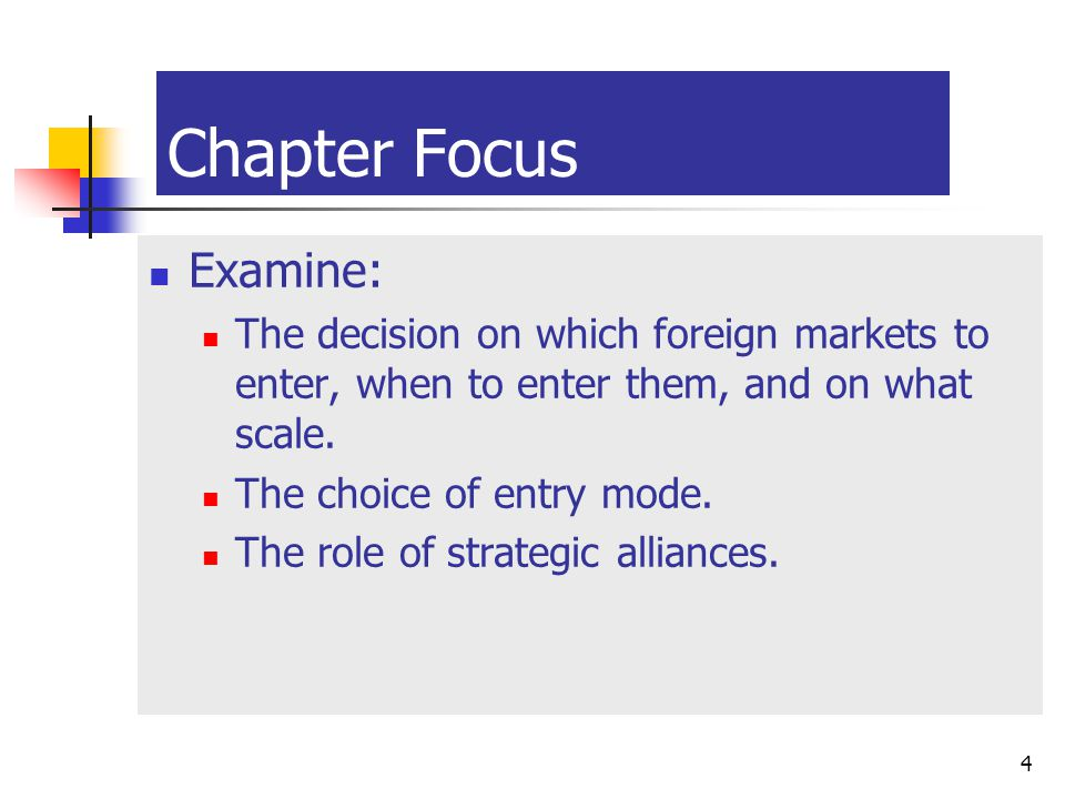 McGraw-Hill/Irwin © 2003 The McGraw-Hill Companies, Inc., All Rights Reserved. 14-4 4 Chapter Focus Examine: The decision on which foreign markets to