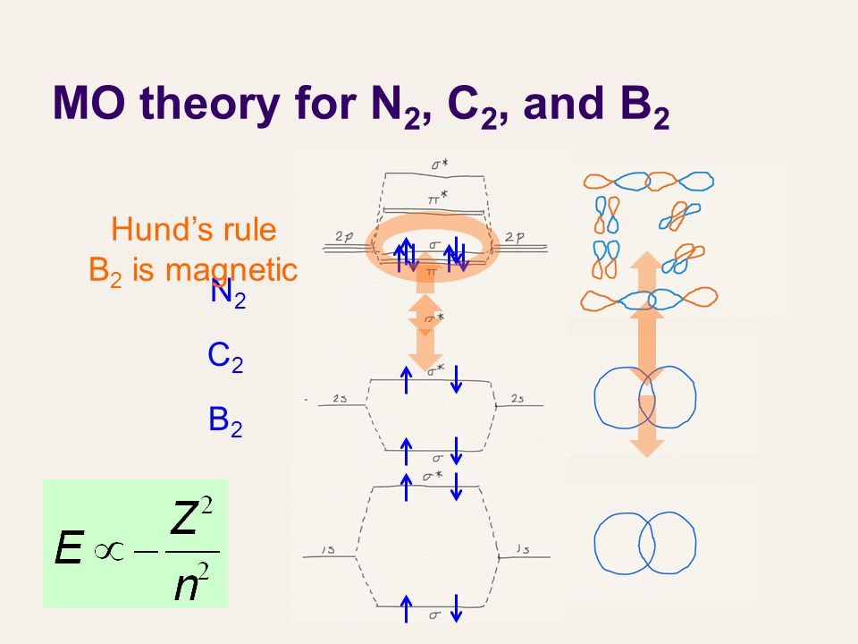 MO theory for N 2, C 2, and B 2 N2N2 C2C2 B2B2 Hund's rule B 2 is magnetic