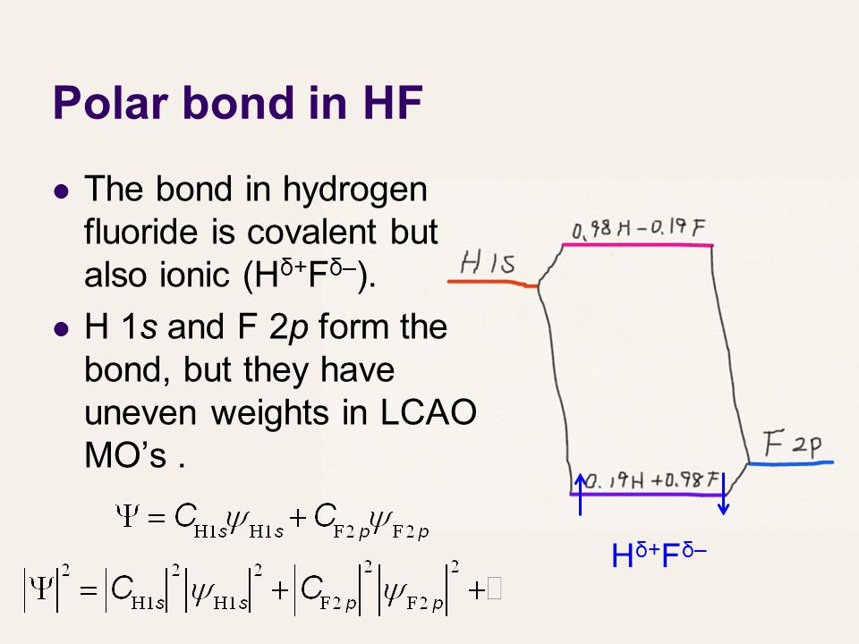 Polar bond in HF The bond in hydrogen fluoride is covalent but also ionic (H δ+ F δ– ).