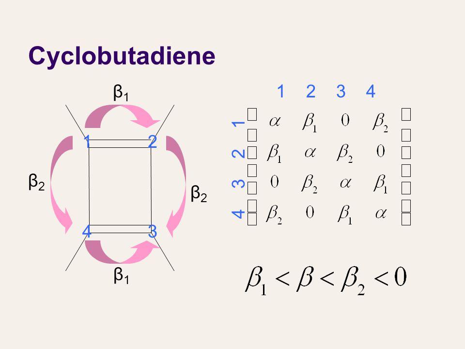 Cyclobutadiene β1β1 β1β1 β2β2 β2β2 12 43 1 2 3 4 4 3 2 1