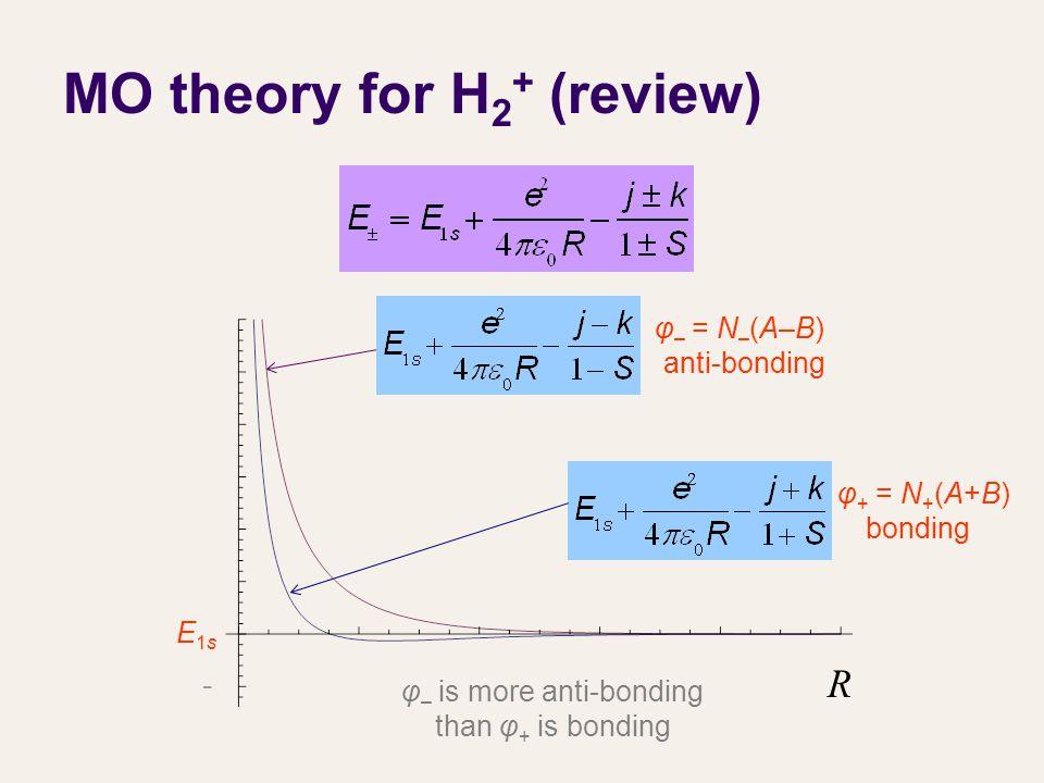 MO theory for H 2 + (review) φ + = N + (A+B) bonding φ – = N – (A–B) anti-bonding φ – is more anti-bonding than φ + is bonding E1sE1s R